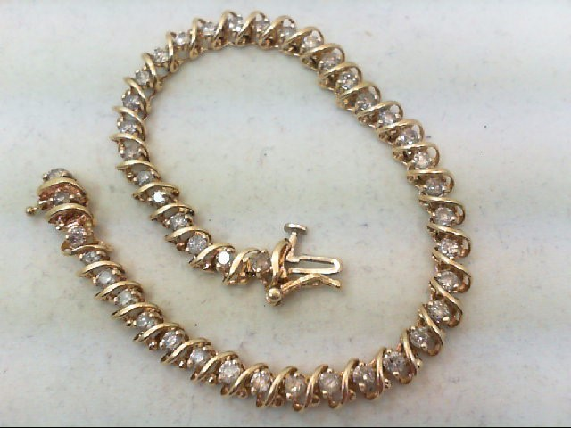 Gold-Diamond Bracelet 44 Diamonds 2.64 Carat T.W. 10K Yellow Gold 9.1g