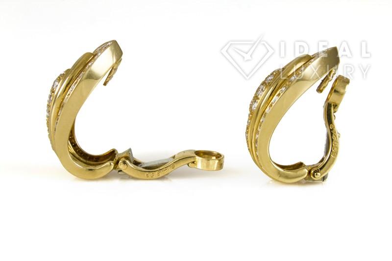 Authentic Cartier 18K Yellow Gold & Diamond Clip-On Earrings 2.00ctw E-F/VS1-VS2