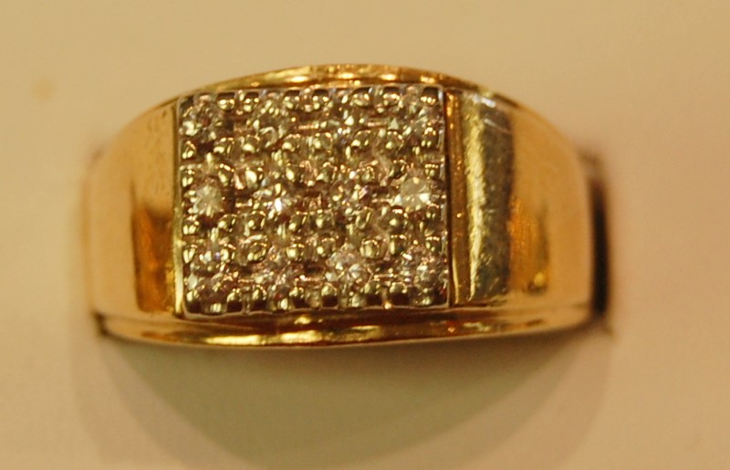 Gent's Diamond Fashion Ring 12 Diamonds .48 Carat T.W. 14K Yellow Gold 8.3g
