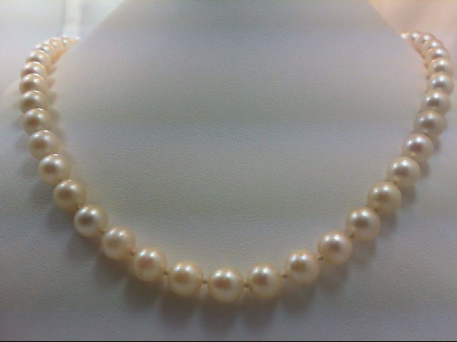 """16"""" Pearl Strand Stone Necklace 10K White Gold 20.2g"""