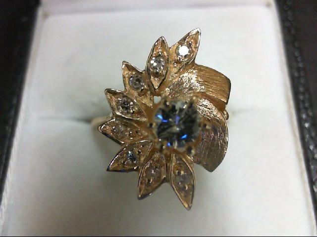 Lady's Diamond Cluster Ring 9 Diamonds 0.33 Carat T.W. 14K Yellow Gold 5.2g