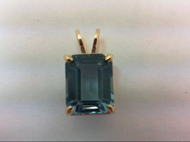 Blue Topaz Gold-Stone Pendant 14K Yellow Gold 1.6g