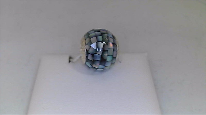 new sterling silver mosaic blk reflection bead