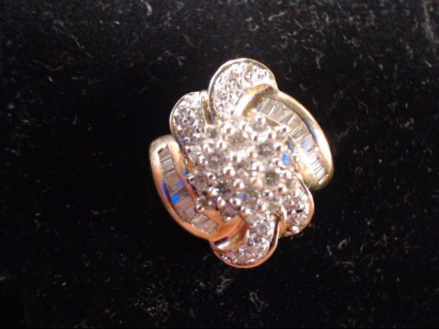 Lady's Diamond Cluster Ring 49 Diamonds .86 Carat T.W. 14K Yellow Gold 5.6g