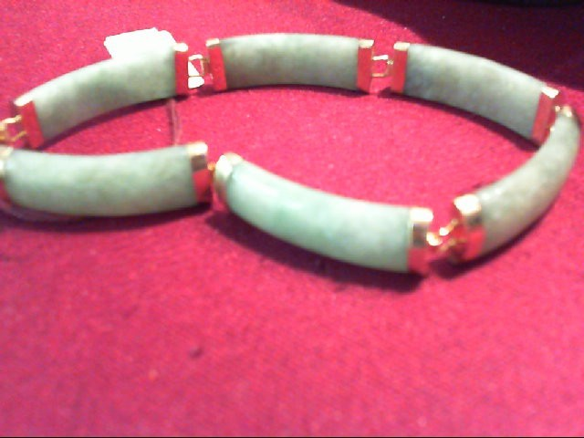 Jade Gold-Stone Bracelet 14K Yellow Gold 13.1g