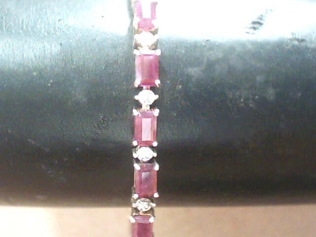 Red ruby Gold-Stone Bracelet 10K Yellow Gold 4.8dwt