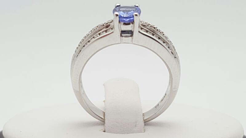 Lady's Tanzanite & Diamond Ring 42 Diamonds .28 Carat T.W. 14K White Gold