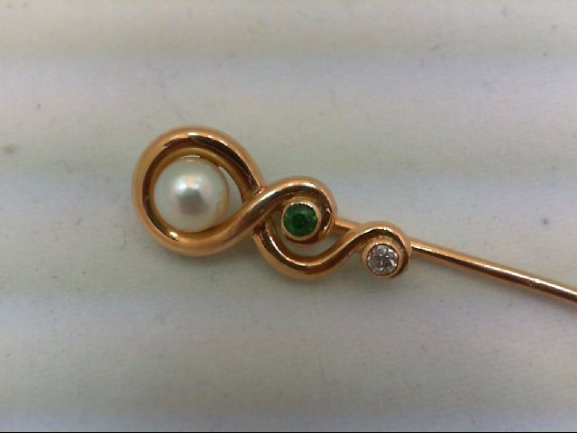Pearl Gold-Diamond & Stone Misc. 0.05 CT. 14K Yellow Gold 1.2g