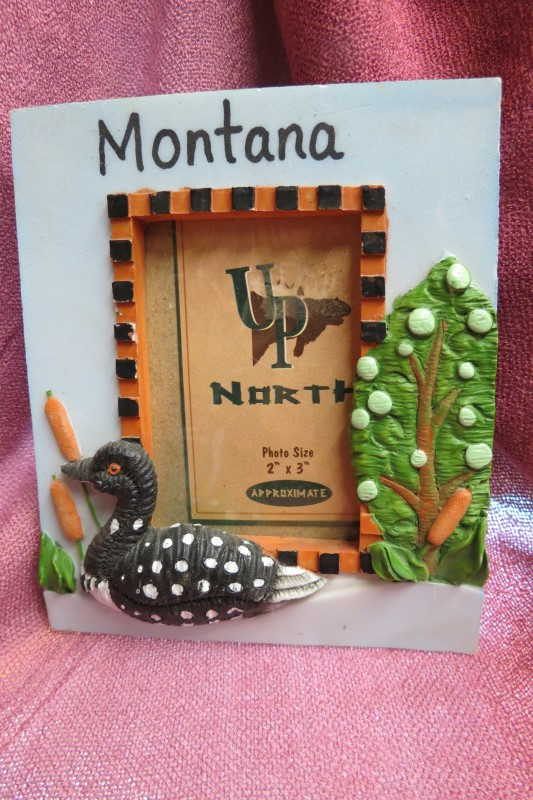 """UP NORTH MONTANA LOON PHOTO FRAME, 2"""" X 3"""" REVEAL"""