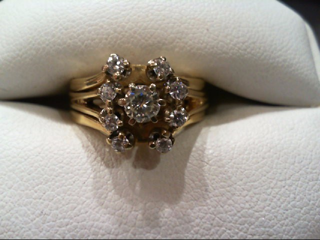 Lady's Diamond Wedding Set 9 Diamonds .46 Carat T.W. 14K Yellow Gold 7.5g