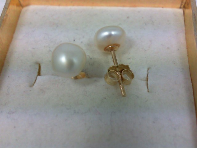 Pearl Gold-Stone Earrings 14K Yellow Gold 1g