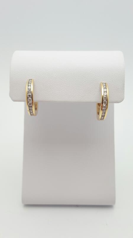 Gold-Diamond Earrings 25 Diamonds .50 Carat T.W. 14K White Gold 4.8g