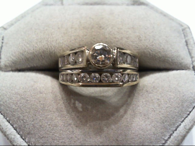 Lady's Diamond Wedding Set 23 Diamonds 1.39 Carat T.W. 18K White Gold 8.2g