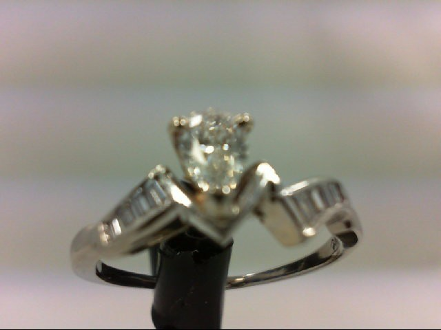 Lady's Diamond Engagement Ring 9 Diamonds 0.52 Carat T.W. 14K White Gold 3.48g