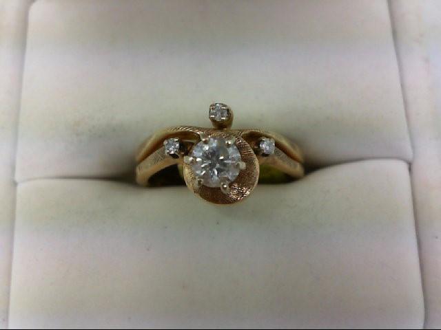 Lady's Diamond Wedding Set 4 Diamonds 0.39 Carat T.W. 14K Yellow Gold 4.3g Size: