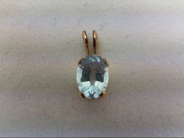 Blue Topaz Gold-Stone Pendant 14K Yellow Gold 0.5g