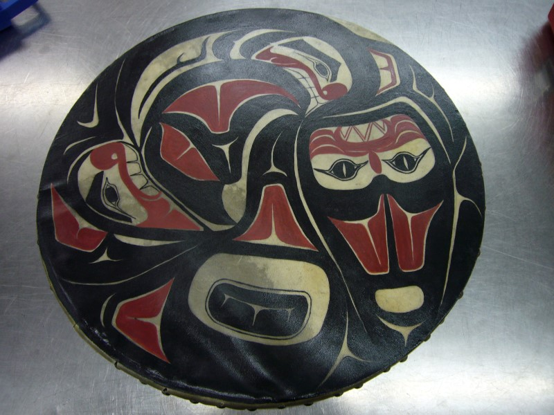 """RAY EVENSON Sculpture/Carving """"SHARK"""" NATIVE DRUM"""