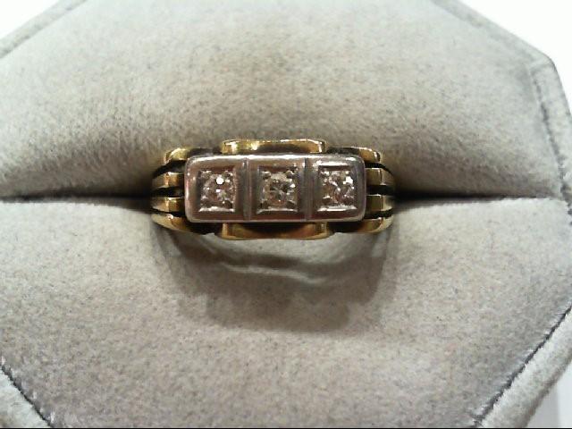 Gent's Gold-Diamond Wedding Band 3 Diamonds .21 Carat T.W. 14K Yellow Gold 4.2g