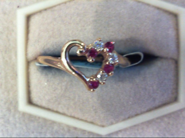 Ruby Lady's Stone Ring 10K Yellow Gold 1.6g