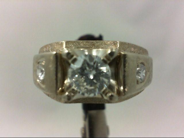 Gent's Gold-Diamond Wedding Band 3 Diamonds 1.01 Carat T.W. 14K White Gold