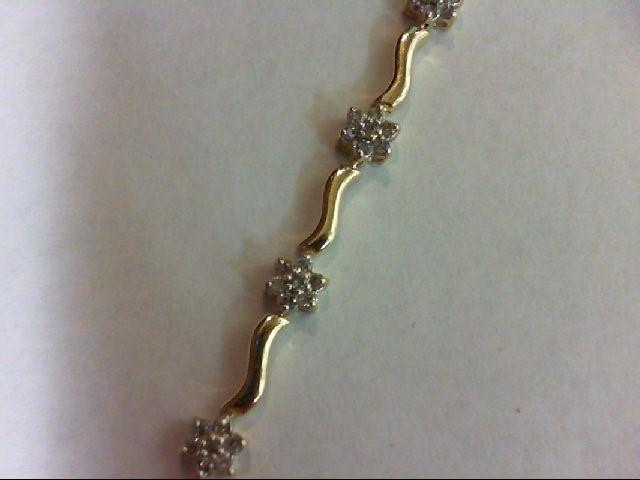 Gold-Diamond Bracelet 70 Diamonds 0.7 Carat T.W. 10K Yellow Gold 4.8g