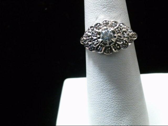 Lady's Diamond Cluster Ring 23 Diamonds .42 Carat T.W. 14K 2 Tone Gold 3.2g