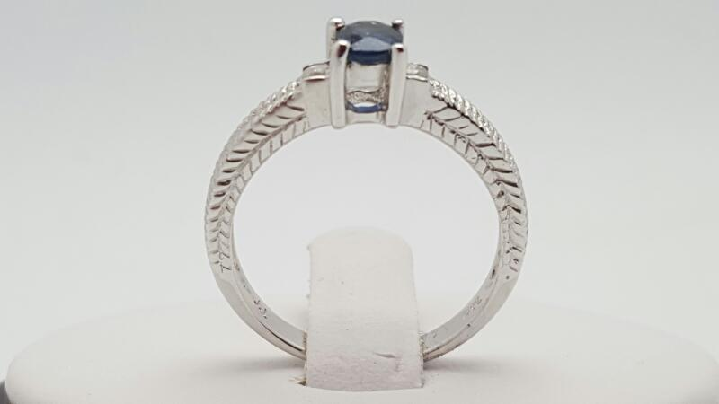 Lady's sapphire & Diamond Ring 2 Diamonds .07 Carat T.W. 14K White Gold 3.