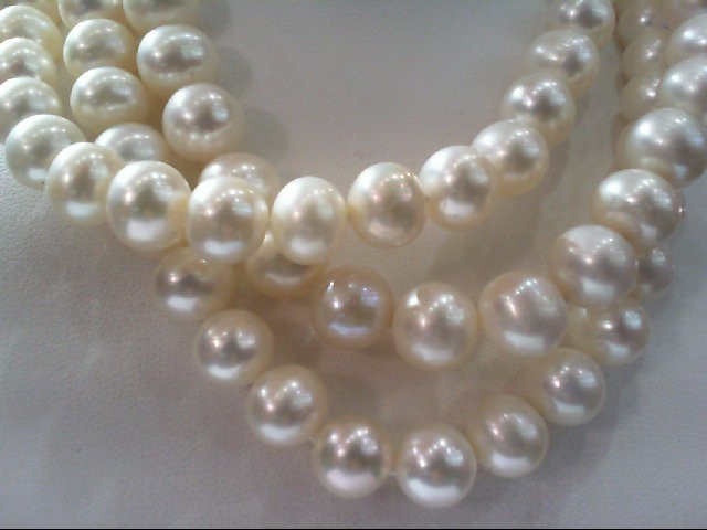 """36"""" Pearl Strand Stone Necklace 14K Yellow Gold 105g"""