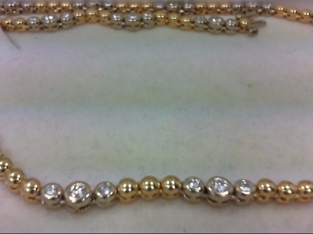 Diamond Necklace 48 Diamonds 3.84 Carat T.W. 14K 2 Tone Gold 34.87g