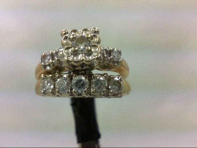 Lady's Diamond Wedding Set 8 Diamonds 0.41 Carat T.W. 14K Yellow Gold 6.4g Size: