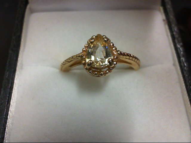 Synthetic Yellow Stone Lady's Stone Ring 14K Yellow Gold 2.9g