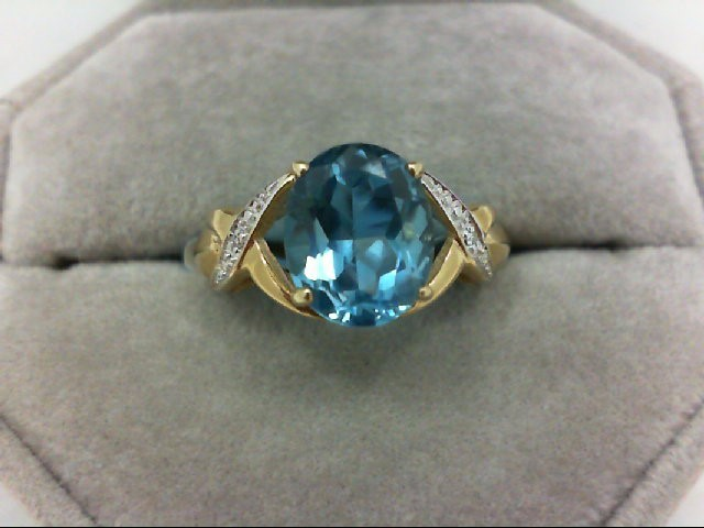 Blue Topaz Lady's Stone Ring 10K Yellow Gold 3.4g Size:9