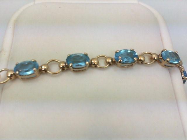 Blue Topaz Gold-Stone Bracelet 10K Yellow Gold 5.3g