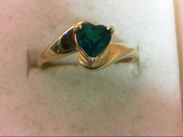 Emerald Lady's Stone Ring 10K Yellow Gold 1.5g