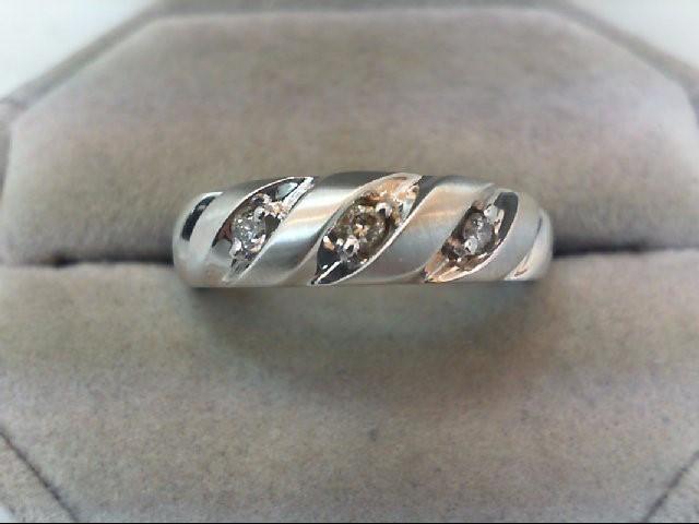 Gent's Gold-Diamond Wedding Band 3 Diamonds .15 Carat T.W. 14K White Gold 4.4g