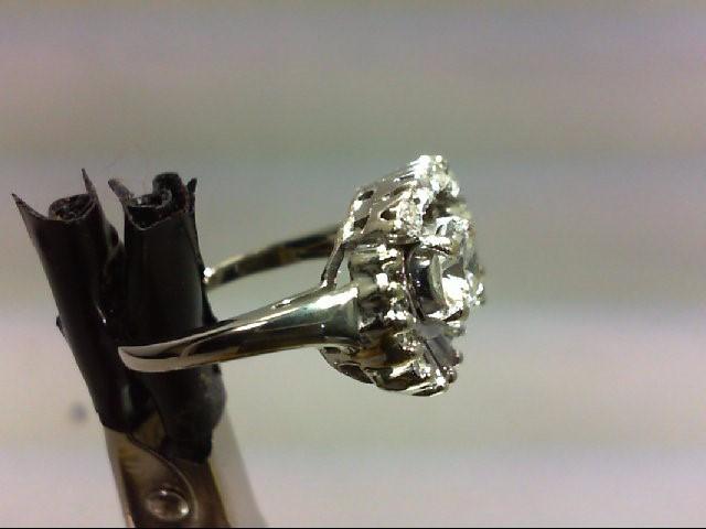 Lady's Diamond Cluster Ring 22 Diamonds 1.49 Carat T.W. 14K White Gold 5.37g