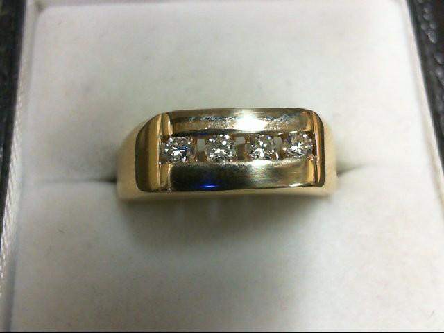 Gent's Gold-Diamond Wedding Band 4 Diamonds 0.2 Carat T.W. 14K Yellow Gold 4.5g