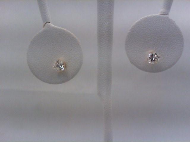 Gold-Diamond Earrings 2 Diamonds 0.64 Carat T.W. 14K Yellow Gold 0.4g