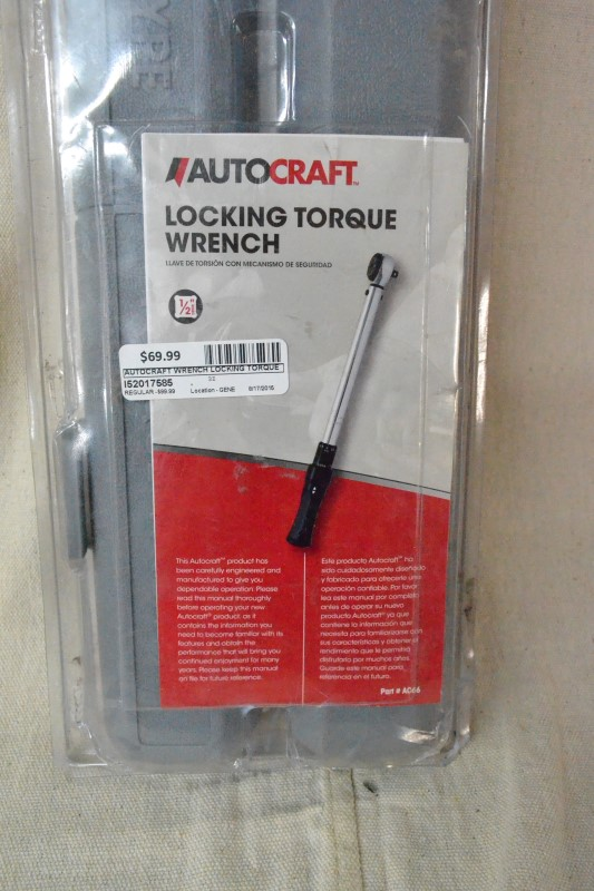AUTOCRAFT Torque Wrench LOCKING TORQUE WRENCH 3/8 DRIVE