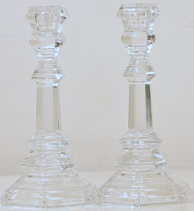 """PAIR TIFFANY & CO CUT CRYSTAL 8"""" CANDLE HOLDERS WITH ORIGINAL BOX"""