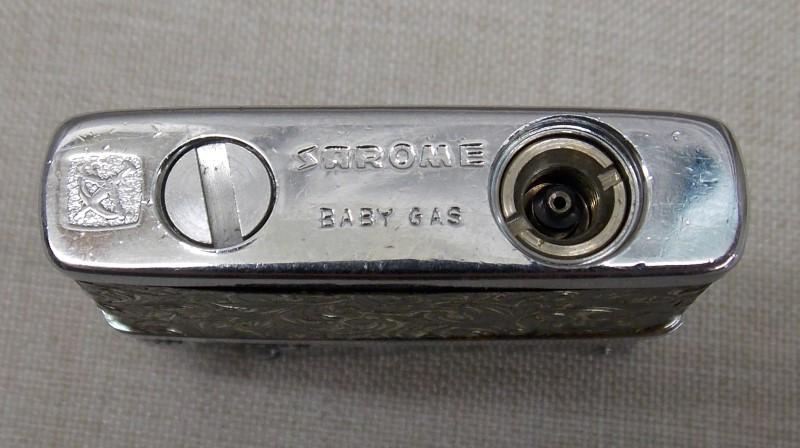 SAROME JAPAN BABY GAS VINTAGE CIGARETTE LIGHTER, ORNATE SCROLLWORK