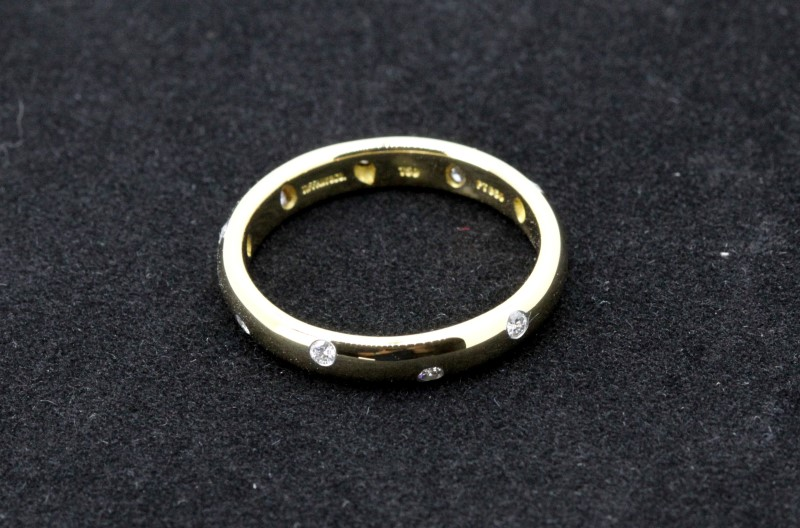 Tiffany & Co. Gent's Gold-Diamond Wedding Band 10 Diamonds .30 Carat T.W.
