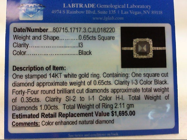 Lady's Black Dia Fashion Ring 45 Diamonds 1.09 Carat T.W. 14K White Gold 2.11g