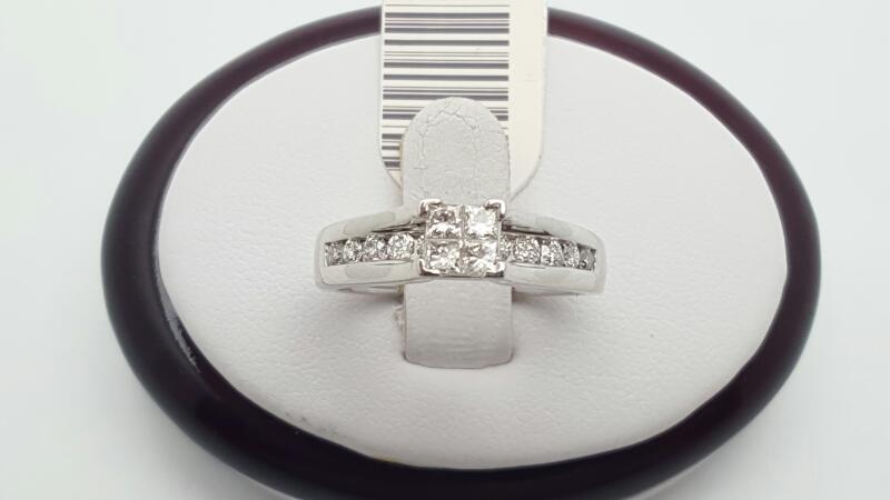 Lady's Diamond Engagement Ring 15 Diamonds .65 Carat T.W. 14K White Gold 5.1g