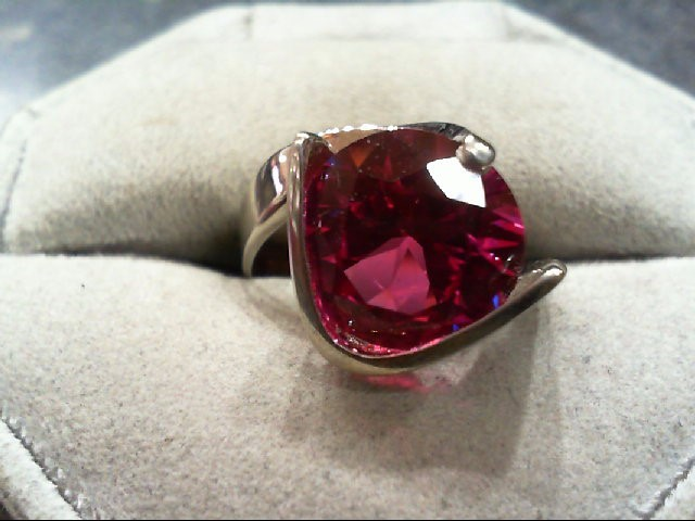 Pink Sapphire Lady's Stone Ring 14K White Gold 6.25g