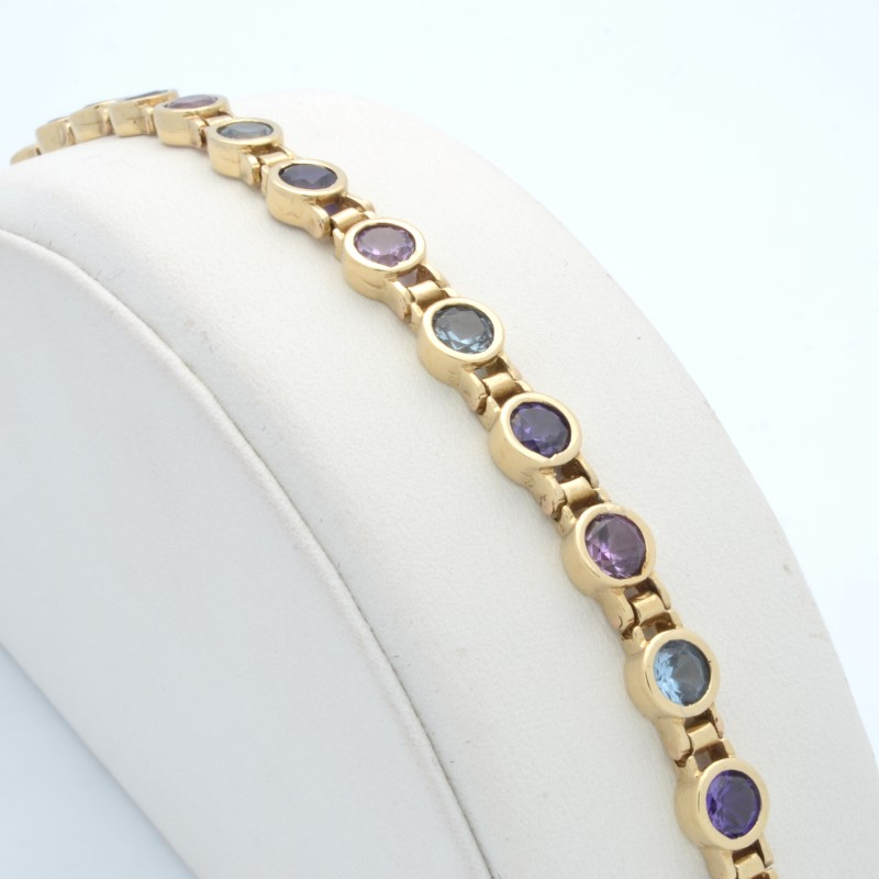 ESTATE MIXED GEM TENNIS BRACELET SOLID 10K YELLOW GOLD ROUND CUT 7""