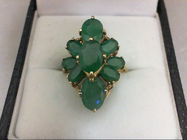 Emerald Lady's Stone Ring 10K Yellow Gold 3.5g