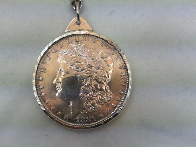 37.3 GMS SILVER 1881 MORGAN DOLLAR KEYCHAIN