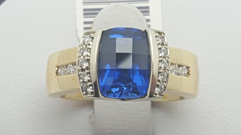 Synthetic Sapphire & Diamond Ring 16 Diamonds .32 Carat T.W.