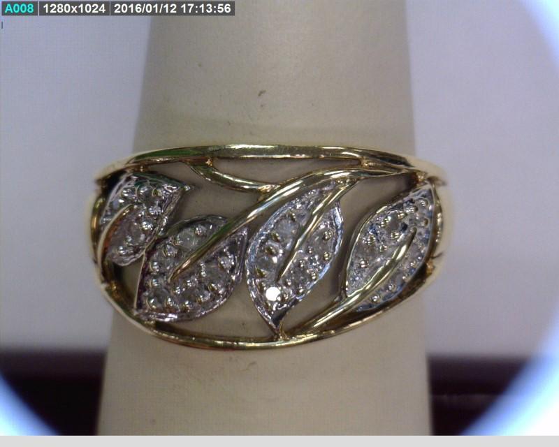 Lady's Diamond Cluster Ring 18 Diamonds .18 Carat T.W. 10K Yellow Gold 2.06dwt